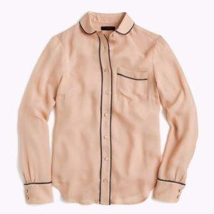 J Crew silk pajama top button up XS F6010